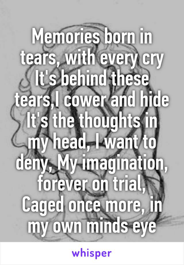 Memories born in tears, with every cry It's behind these tears,I cower and hide It's the thoughts in my head, I want to deny, My imagination, forever on trial, Caged once more, in my own minds eye
