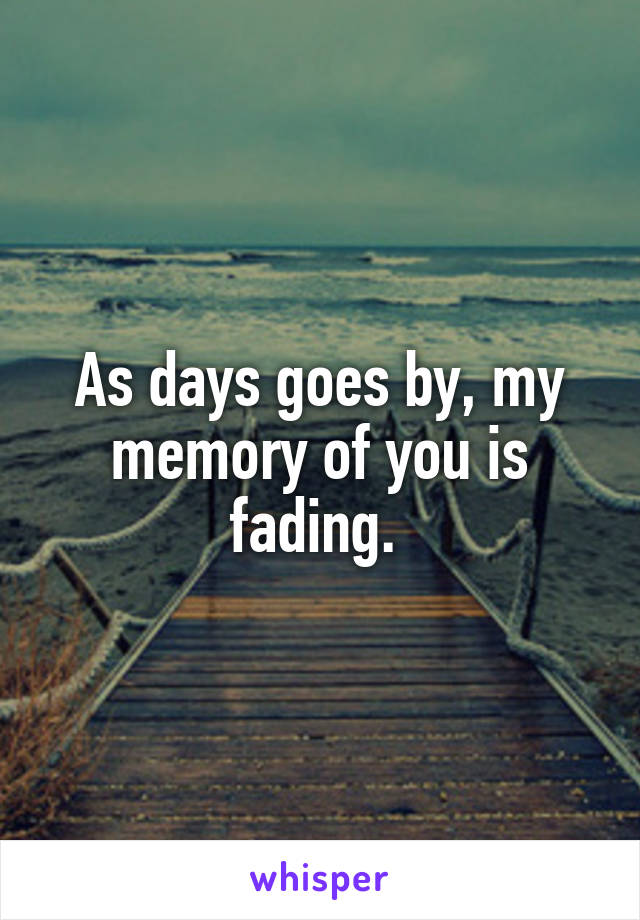 As days goes by, my memory of you is fading.