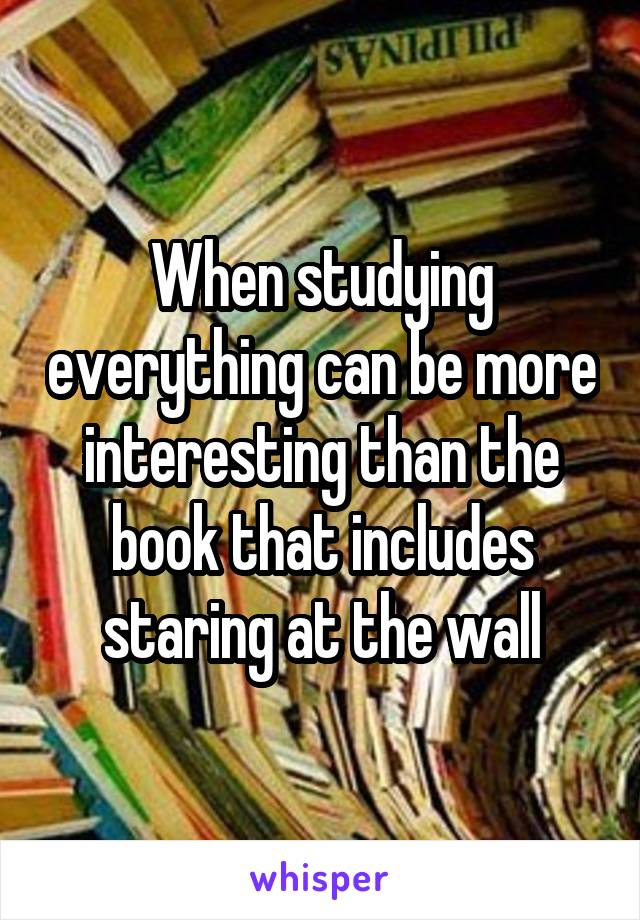 When studying everything can be more interesting than the book that includes staring at the wall