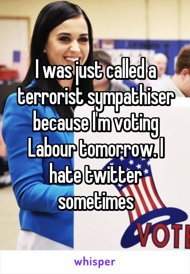 I was just called a terrorist sympathiser because I'm voting Labour tomorrow. I hate twitter sometimes