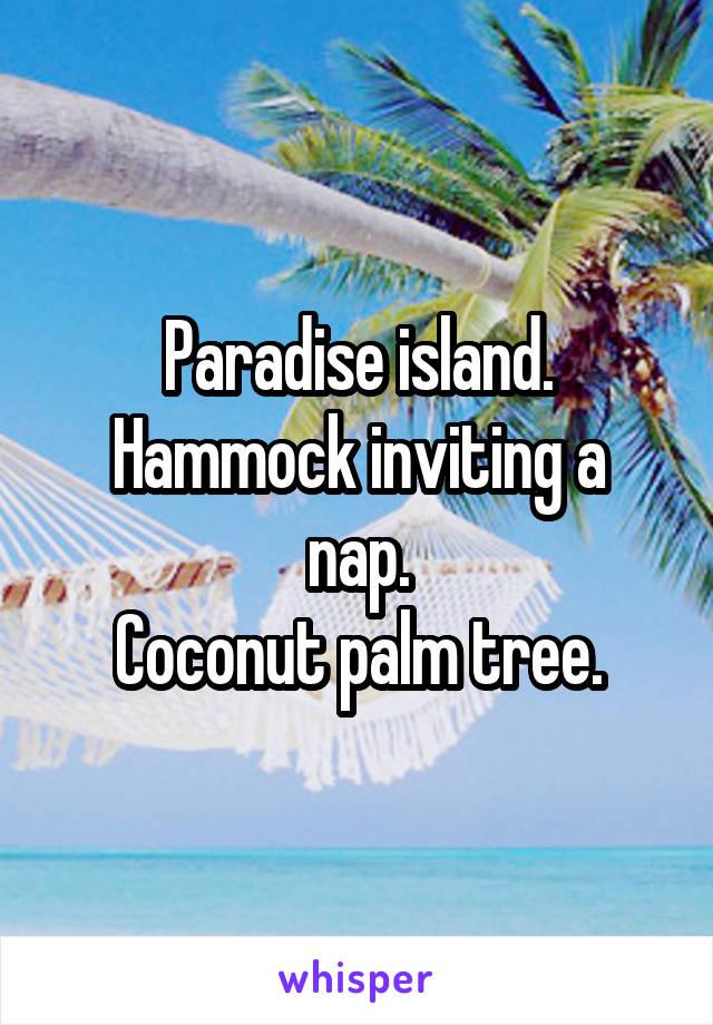Paradise island. Hammock inviting a nap. Coconut palm tree.