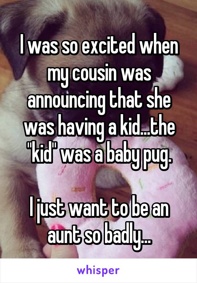 "I was so excited when my cousin was announcing that she was having a kid...the ""kid"" was a baby pug.  I just want to be an aunt so badly..."