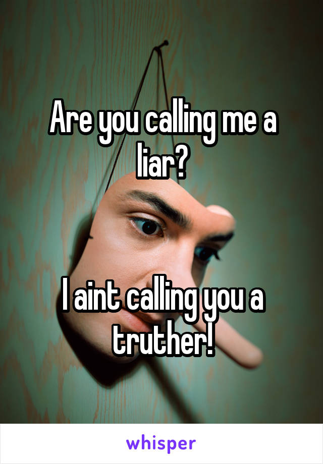 Are you calling me a liar?   I aint calling you a truther!