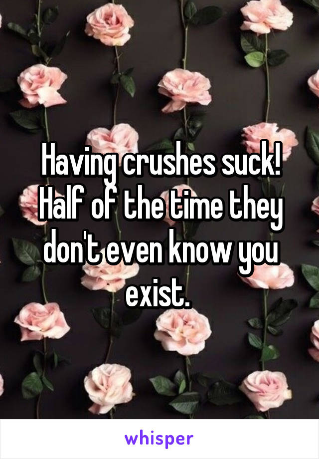 Having crushes suck! Half of the time they don't even know you exist.