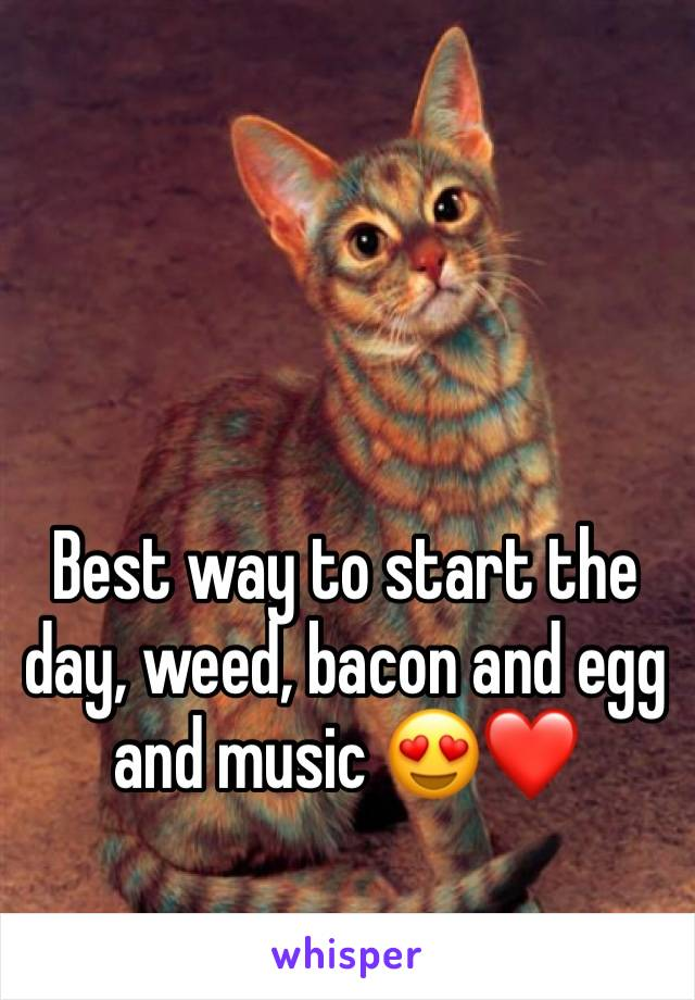 Best way to start the day, weed, bacon and egg and music 😍❤