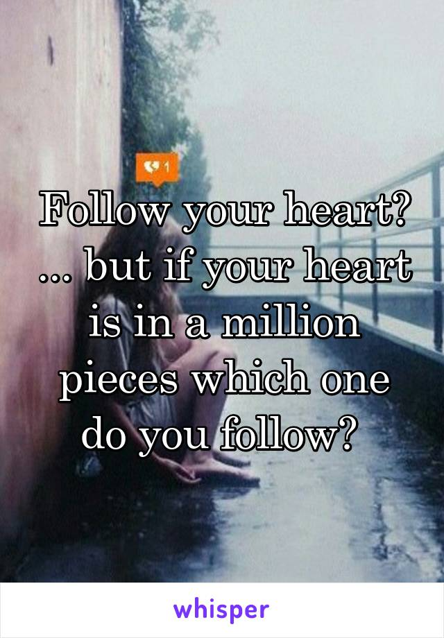 Follow your heart? ... but if your heart is in a million pieces which one do you follow?