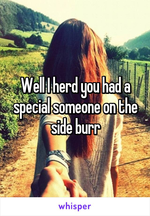 Well I herd you had a special someone on the side burr