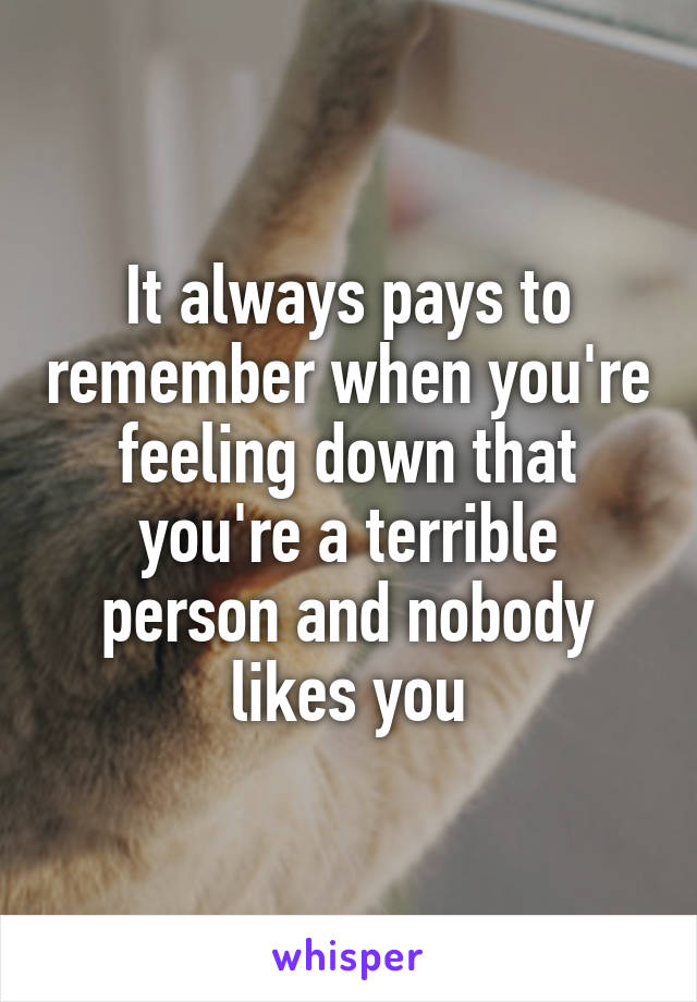 It always pays to remember when you're feeling down that you're a terrible person and nobody likes you