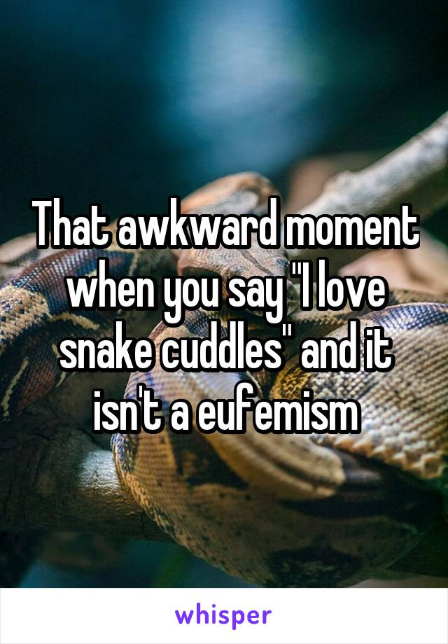 "That awkward moment when you say ""I love snake cuddles"" and it isn't a eufemism"