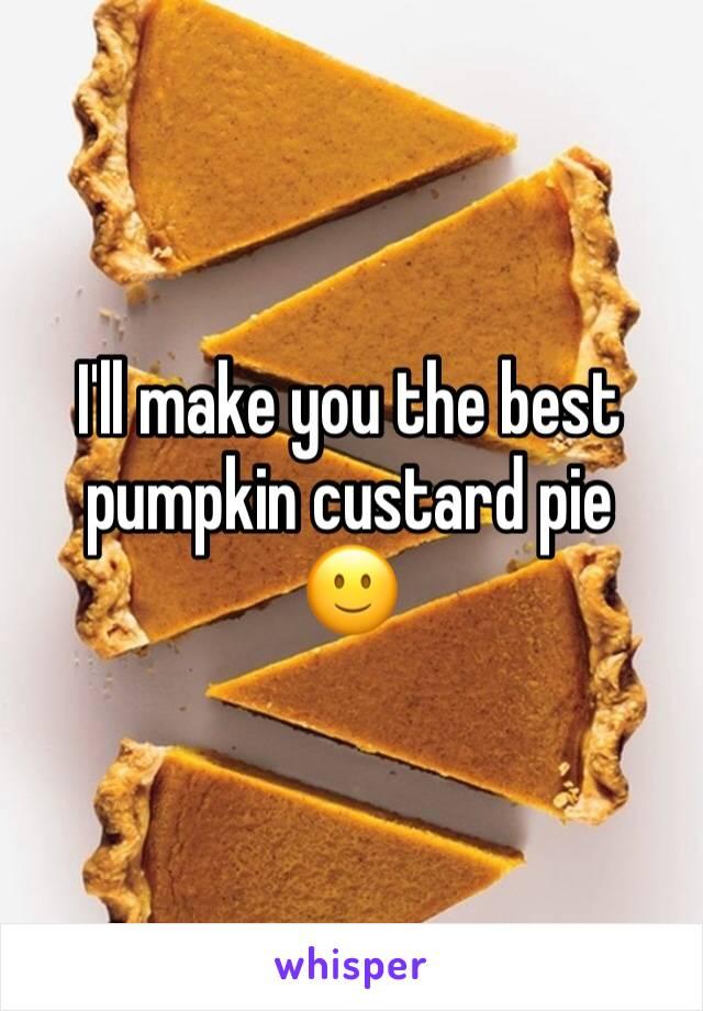 I'll make you the best pumpkin custard pie  🙂