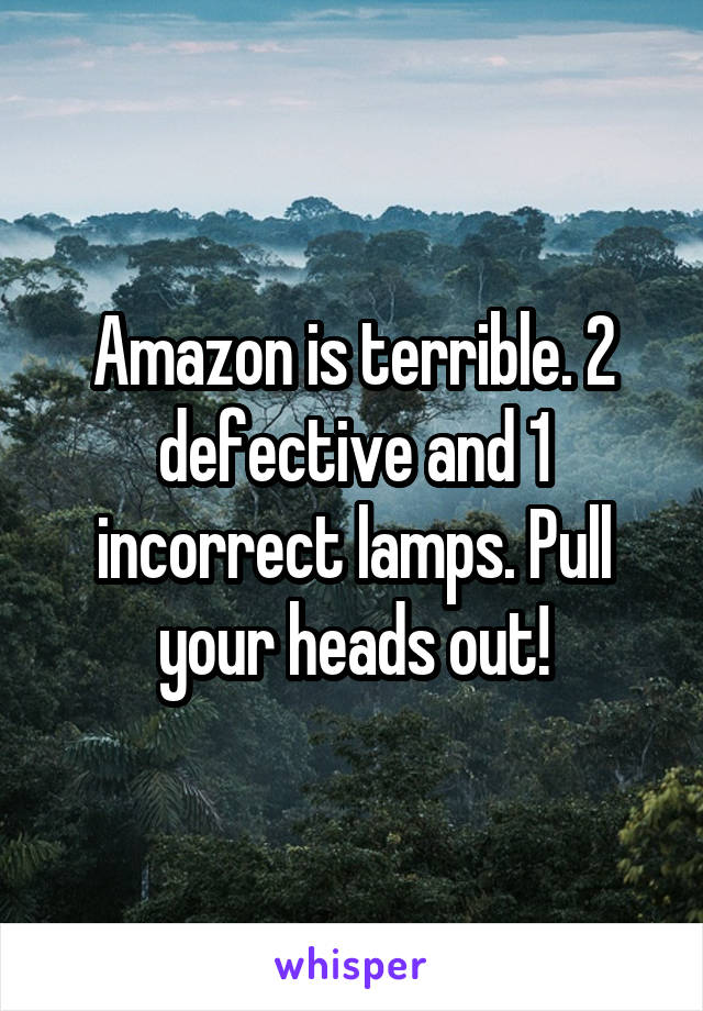 Amazon is terrible. 2 defective and 1 incorrect lamps. Pull your heads out!