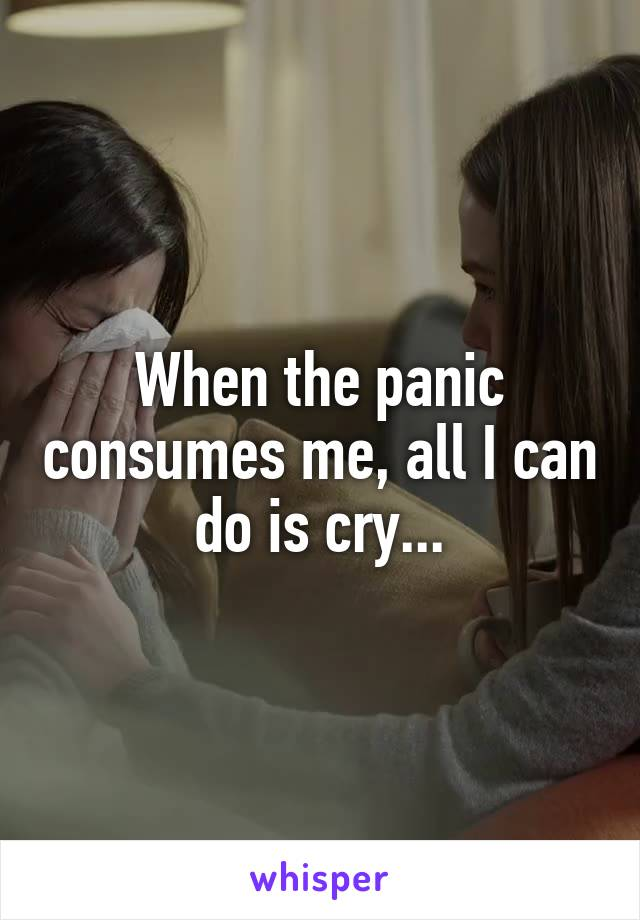 When the panic consumes me, all I can do is cry...