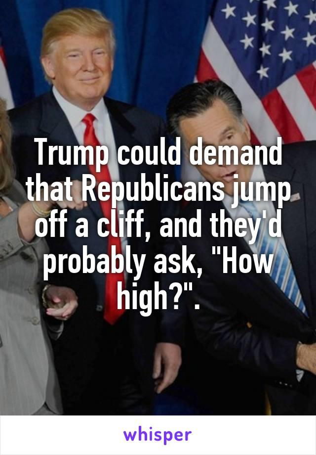 "Trump could demand that Republicans jump off a cliff, and they'd probably ask, ""How high?""."