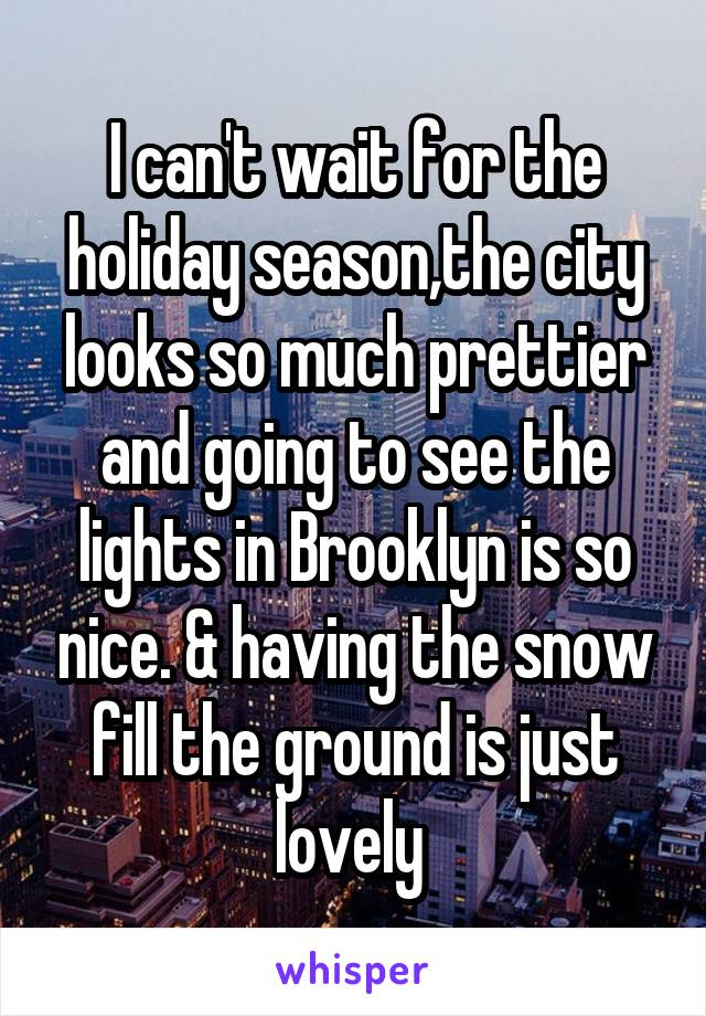 I can't wait for the holiday season,the city looks so much prettier and going to see the lights in Brooklyn is so nice. & having the snow fill the ground is just lovely