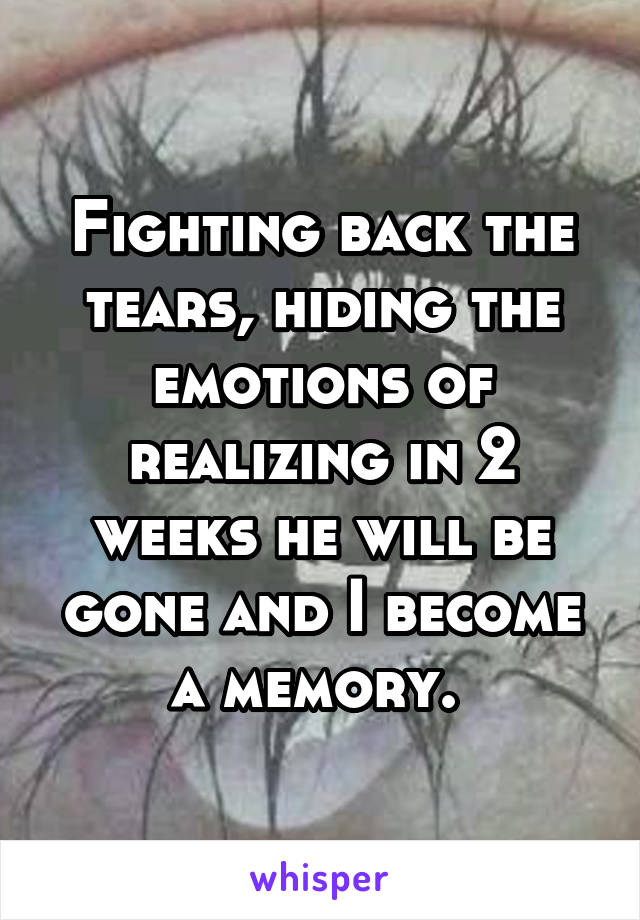 Fighting back the tears, hiding the emotions of realizing in 2 weeks he will be gone and I become a memory.