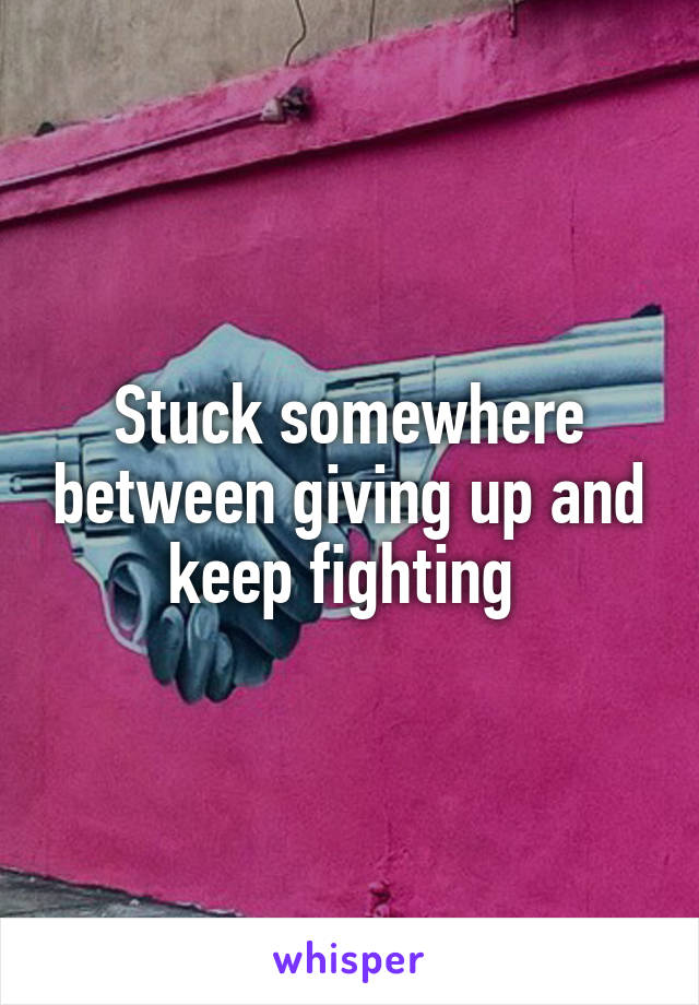 Stuck somewhere between giving up and keep fighting