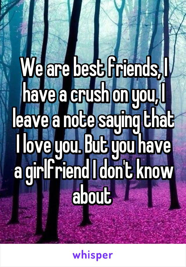 We are best friends, I have a crush on you, I leave a note saying that I love you. But you have a girlfriend I don't know about