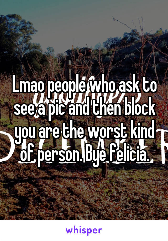 Lmao people who ask to see a pic and then block you are the worst kind of person. Bye felicia.