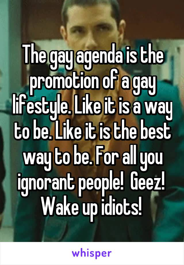 The gay agenda is the promotion of a gay lifestyle. Like it is a way to be. Like it is the best way to be. For all you ignorant people!  Geez!  Wake up idiots!