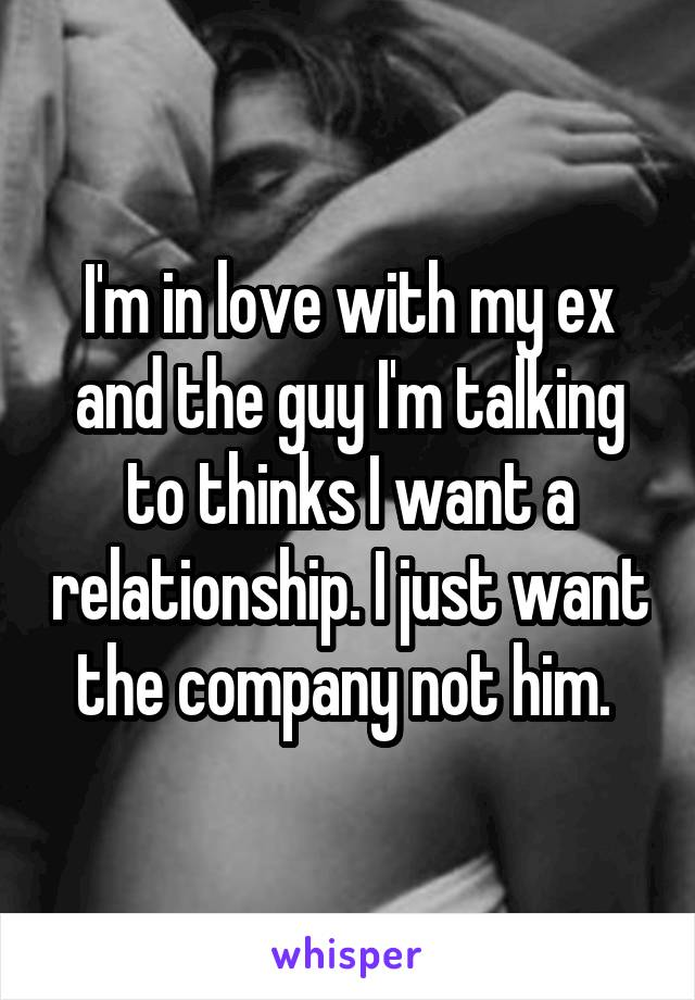 I'm in love with my ex and the guy I'm talking to thinks I want a relationship. I just want the company not him.