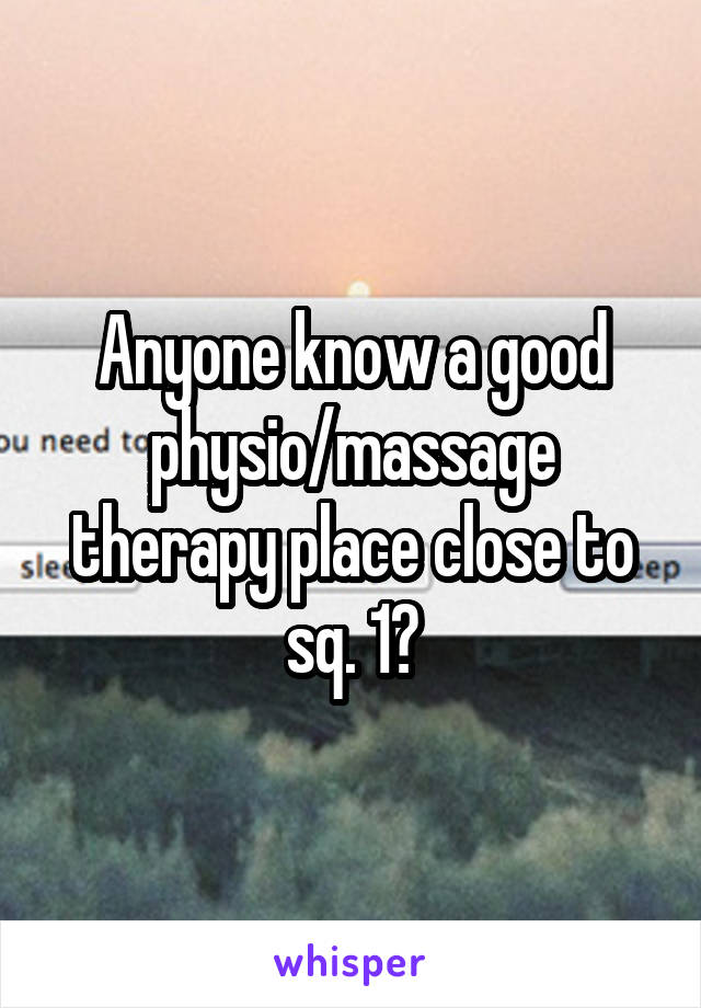 Anyone know a good physio/massage therapy place close to sq. 1?