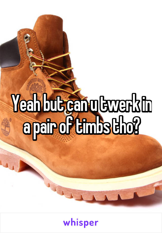 Yeah but can u twerk in a pair of timbs tho?