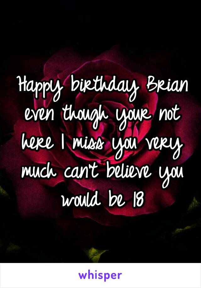 Happy birthday Brian even though your not here I miss you very much can't believe you would be 18