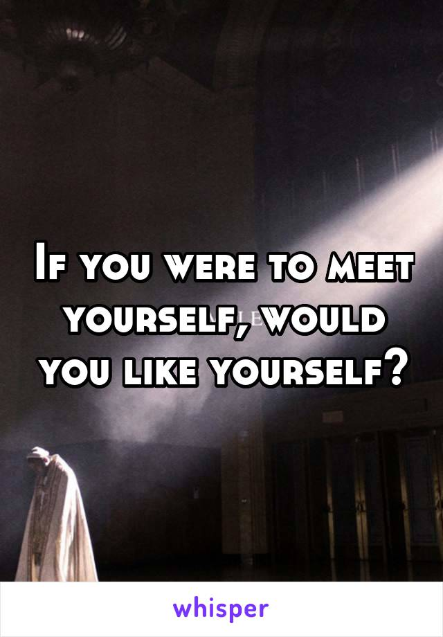 If you were to meet yourself, would you like yourself?