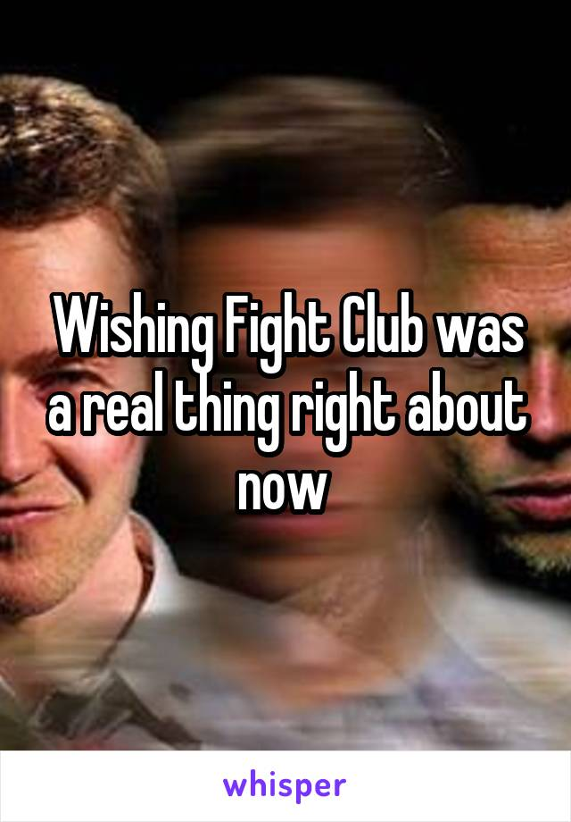 Wishing Fight Club was a real thing right about now