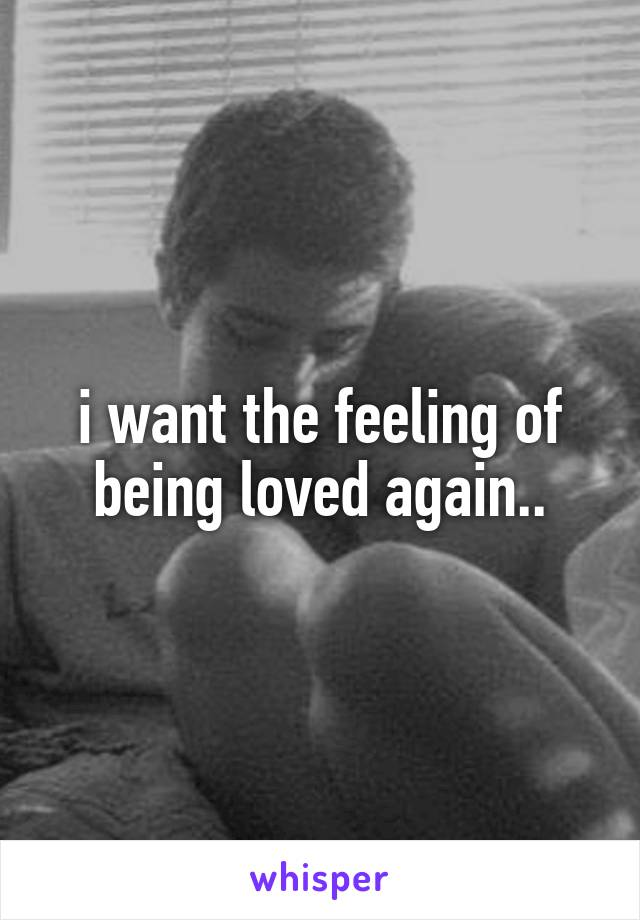 i want the feeling of being loved again..