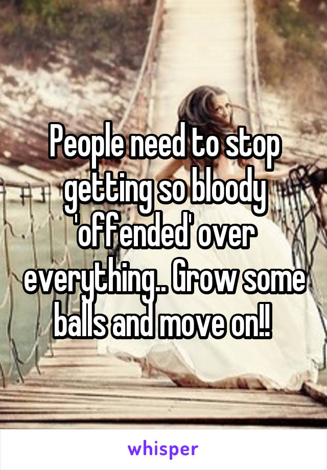 People need to stop getting so bloody 'offended' over everything.. Grow some balls and move on!!