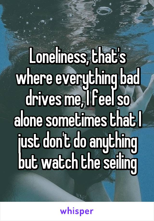 Loneliness, that's where everything bad drives me, I feel so alone sometimes that I just don't do anything but watch the seiling