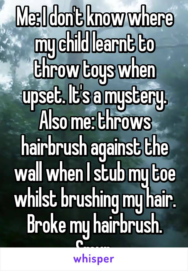 Me: I don't know where my child learnt to throw toys when upset. It's a mystery. Also me: throws hairbrush against the wall when I stub my toe whilst brushing my hair. Broke my hairbrush. Smur.
