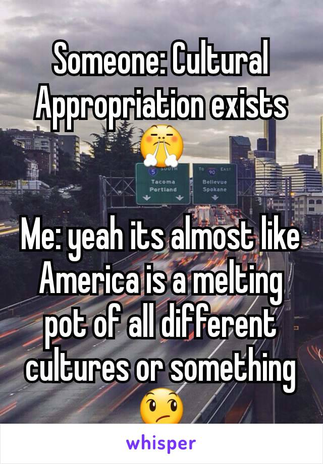 Someone: Cultural Appropriation exists 😤  Me: yeah its almost like America is a melting pot of all different cultures or something 😞