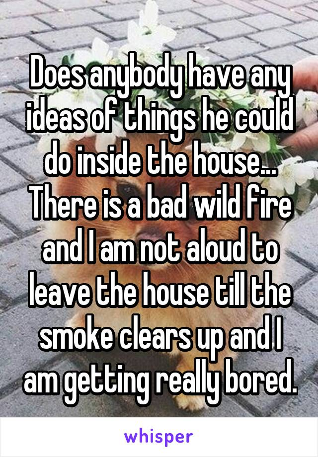 Does anybody have any ideas of things he could do inside the house... There is a bad wild fire and I am not aloud to leave the house till the smoke clears up and I am getting really bored.