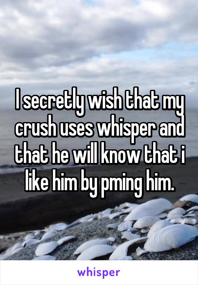 I secretly wish that my crush uses whisper and that he will know that i like him by pming him.