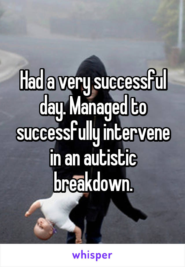 Had a very successful day. Managed to successfully intervene in an autistic breakdown.