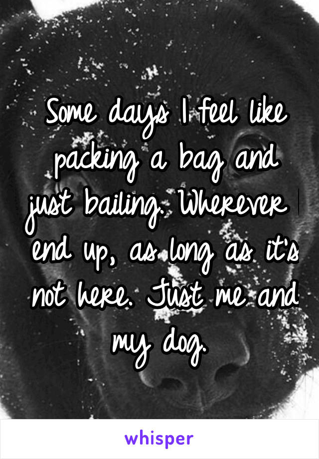 Some days I feel like packing a bag and just bailing. Wherever I end up, as long as it's not here. Just me and my dog.