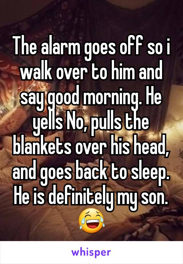 The alarm goes off so i walk over to him and say good morning. He yells No, pulls the blankets over his head, and goes back to sleep. He is definitely my son. 😂