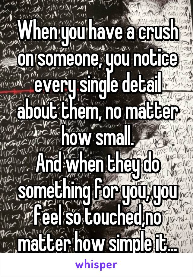 When you have a crush on someone, you notice every single detail about them, no matter how small. And when they do something for you, you feel so touched,no matter how simple it...