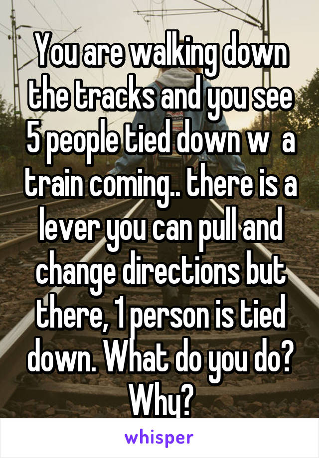 You are walking down the tracks and you see 5 people tied down w  a train coming.. there is a lever you can pull and change directions but there, 1 person is tied down. What do you do? Why?