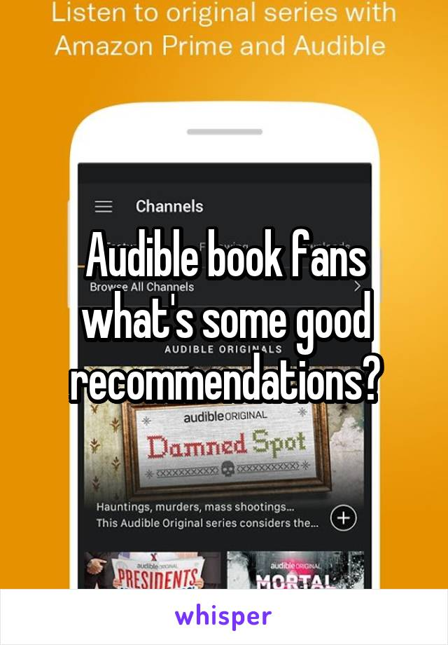 Audible book fans what's some good recommendations?