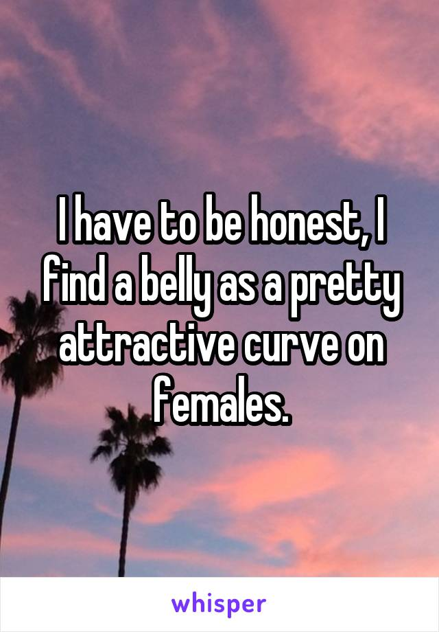 I have to be honest, I find a belly as a pretty attractive curve on females.