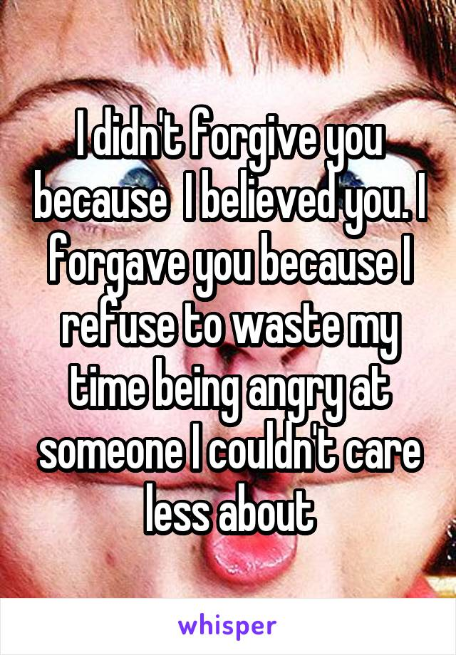 I didn't forgive you because  I believed you. I forgave you because I refuse to waste my time being angry at someone I couldn't care less about