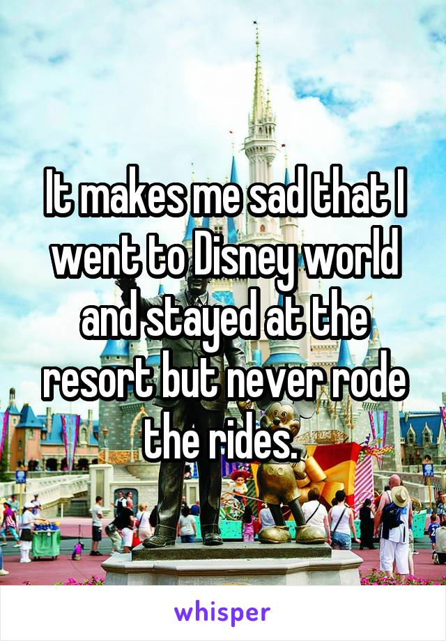 It makes me sad that I went to Disney world and stayed at the resort but never rode the rides.