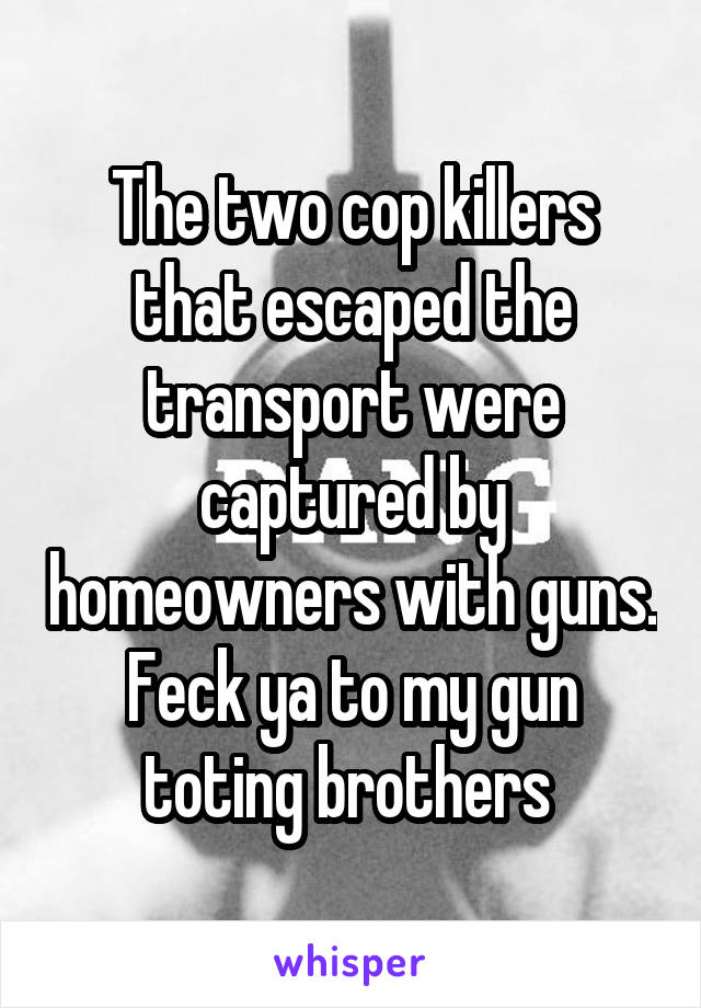 The two cop killers that escaped the transport were captured by homeowners with guns. Feck ya to my gun toting brothers