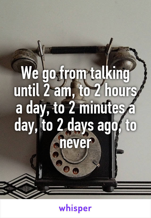 We go from talking until 2 am, to 2 hours a day, to 2 minutes a day, to 2 days ago, to never