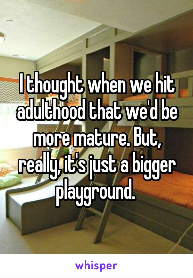 I thought when we hit adulthood that we'd be more mature. But, really, it's just a bigger playground.