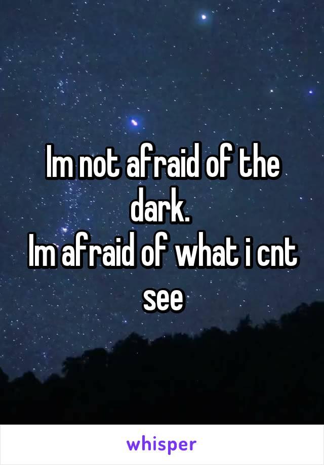 Im not afraid of the dark.  Im afraid of what i cnt see