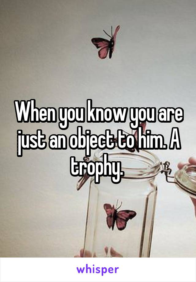 When you know you are just an object to him. A trophy.